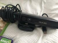 Xbox 360 with kinnect and games and 2 controls