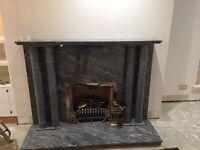Grey granite real fireplace