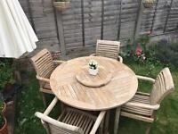 Quality Cotswold Teak Table and 4 stackable teak chairs by Rida Teak - CAN DELIVER