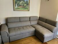 DFS GREY CORNER SOFABED WITH RECLINING HEADRESTS- MUST GO TODAY TODAY - CHEAP DELIVERY - £475