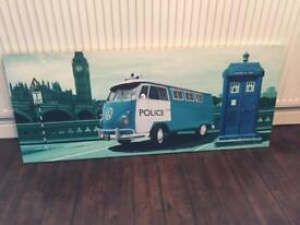Canvas print. Teal. London. VW Camper. Phone box
