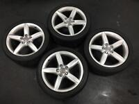 "GENUINE 18"" AUDI ALLOYS AND TYRES+BARGAIN+"