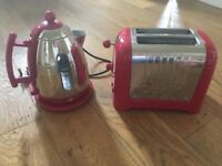 Red dualit kettle and toaster