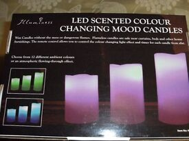LED – SET OF 3 SCENTED COLOUR CHANGING MOOD CANDLES (Brand new & Boxed)