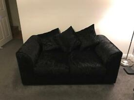 2 Seater Black Crushed Velvet Sofa