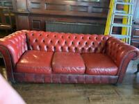 Classic vintage Chesterfield sofa in Oxbood red, bargain for quick sale