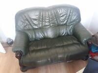 Free Green 2-seater Leather Sofa