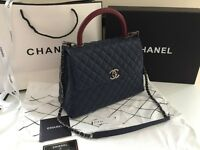 Chanel flap bag. Genuine navy caviar leather.