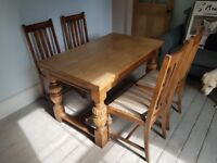 Antique style extending dining table and 4 chairs