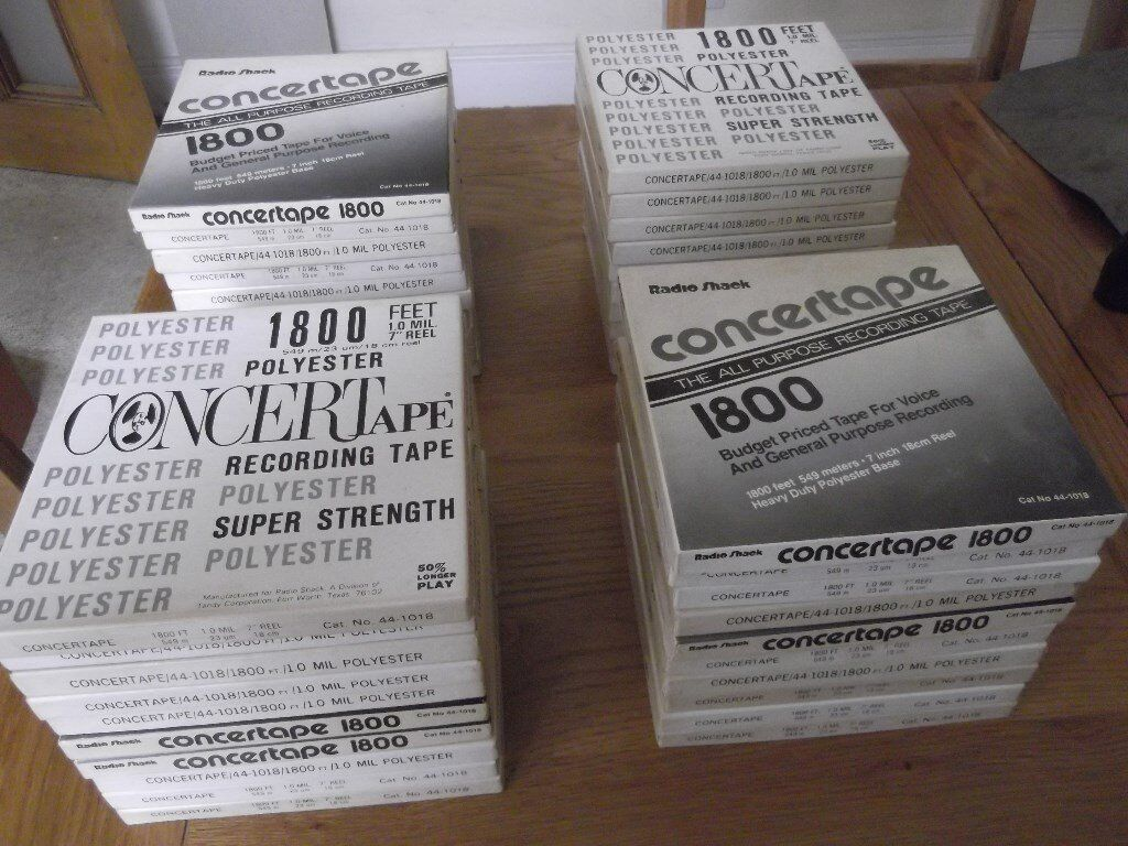 """40 Tandy/Realistic 1/4"""" Concertape 1800ft tapes on 7"""" plastic spools - all with library cases"""
