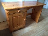 @@SOLID PINE DRESSING TABLE OR DESK WITH CUPBOARD AND DRAWER@@
