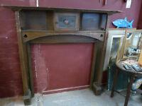 Vintage Dark Wood Fire Surround With Stain Glass Cupboard