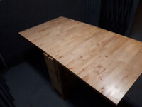 IKEA Gateleg table, solid hardwood foldable table with drawers, good condition