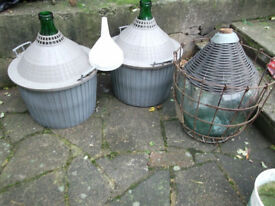 3x large (54L/ 12 gallons) demijohns with baskets. Wine/Cider making. 1 bung only. Free funnel.