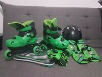 Cosmic Kids Skate and Protection Set Boys Green