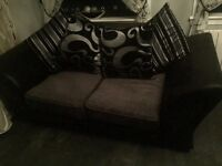 Black and silver sofas