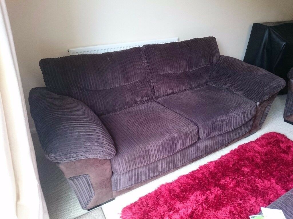 DFS chocolate brown cord 3 seater sofa
