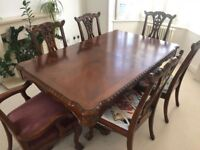 Beautiful Walnut Dining Table & 6 Chairs (with butterfly leaf)