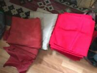 Job lot of very large cotton / canvas / red leather