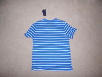 Brand New Mens Tommy Hilfiger T-shirt White and Blue Striped Size Large