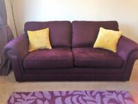 MARKS AND SPENCER 3 SEATER PLUM SOFA