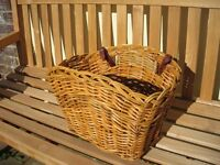 Wicker, Bicycle Basket with Brown Leather Straps. Unused. As New, Immaculate condition