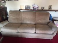 RARE VINTAGE COLLINS AND HAYES 3 SEATER SOFA, COFFEE TABLE AND POUFFE 1970'S
