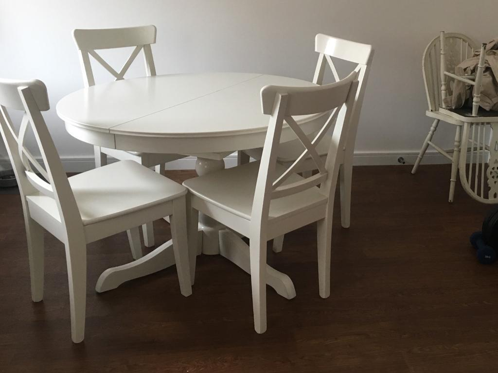 Sstc Ikea Ingatorp White Extending Dining Table In