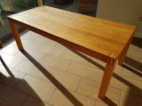 Solid Oak Table 750 mm H x 895 mm D x 2000 mm L, good condition.