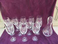 WINE DECANTER/CARAFE & SUPER LARGE WINE GLASSES X12 USED ONCE SELLING COMPLETE