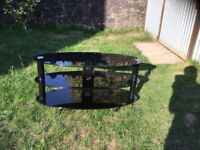 Black glass TV bench / stand