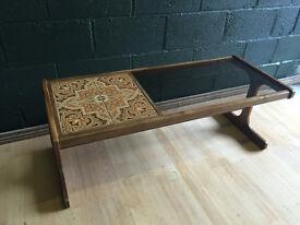 Retro Vintage Mid Century G Plan Smoked Glass Teak Tile Coffee Table