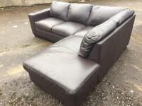 Brown leather corner sofa can deliver today short notice.