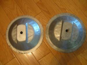 TWO NEW LAWNMOWER CUSTOM-MOLDED METAL BLADE SHIELDS