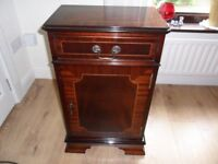 Solid Mahogany (Real Wood) Reproduction Narrow Cupboard with Drawer with Yew Inlay