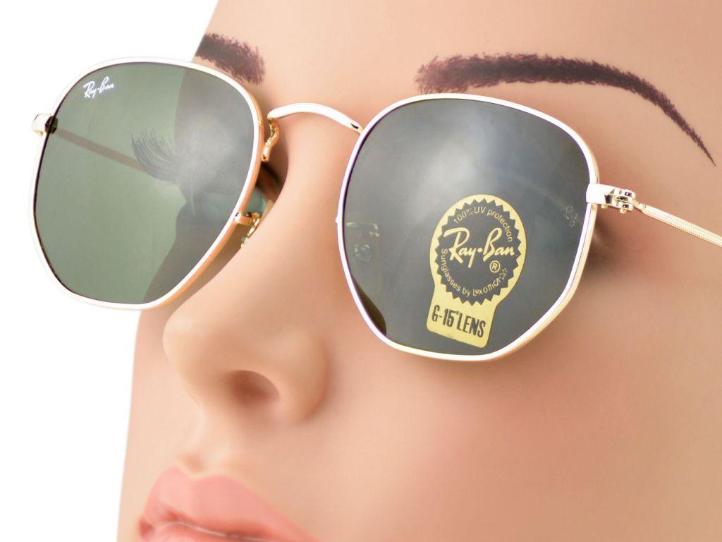 RAY-BAN Sunglasses Hexagonal Flat Lenses Gold Green Classic G15 RB3548N 001 51mm