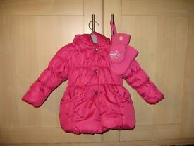 Baby Girl Pink Winter Coat with Hood - 18 Months