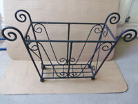 Magazine rack / storage or Garden basket / plant pot holder. Wrought iron L56cm W17.5cm Height 32cm