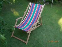 Retro Deck Chair with Arm Rests - Wood and Canvas