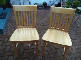 Chairs, beech wood kichen chairs - pair