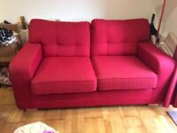 Red fabric two seater sofa for sale