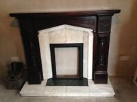 Unused Mahogany Fireplace with Marble Surround - Great Condition