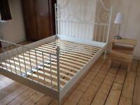 IKEA Leirvik white metal double bed frame