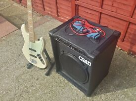 Revelation RBJ-67 Bass Guitar and Crate BX-100 Amplifier