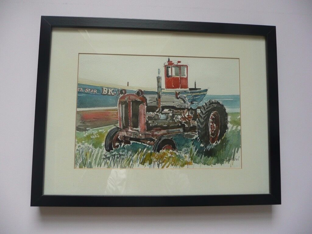ORIGINAL WATERCOLOUR OF TRACTOR AT BOULMER