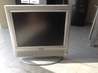"GWO Nice 15"" Grey color tv with power supply and remote (remote little battery back missing)"