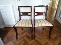 Scroll Solid Mahogany Upholstered Dining Chairs