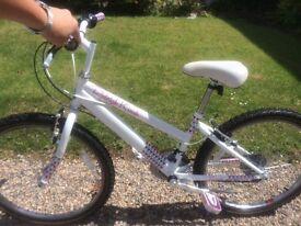 """Girl white n pink Raleigh bike 24"""" wheels"""