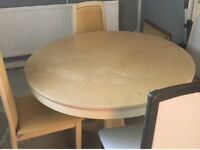 FREE TO COLLECTOR .. DINING TABLE & 4 CHAIRS. CHAIRS NEED RECOVERING COLLECTION FROM SKETTY AREA