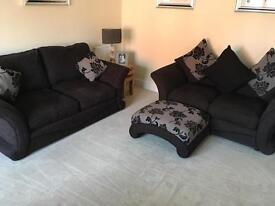 Two DFS sofas & footstool excellent condition